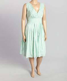 Look at this Mint & White Stripe Surplice Dress - Plus on #zulily today!