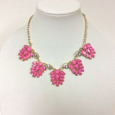 Pink and Clear Crystal Resin Gold Statement Necklace