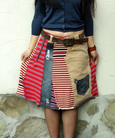 Crazy recycled jeans denim striped skirt by jamfashion on Etsy