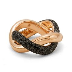 A swirl of black Diamonds crossover a swirl of pink gold.