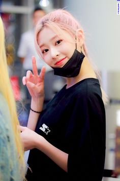 Image in izone collection by b. on We Heart It Kpop Hair, Mask Girl, Yu Jin, Best Kpop, Japanese Girl Group, Coral, Kim Min, Cute Asian Girls, Pretty Girls