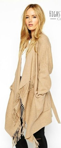 Fringe Camel Coat by Natulia