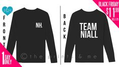 Team Niall Long Sleeve Black NIALL HORAN by ThePrintsandMeShop