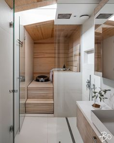 Saunas in style Design Your Own Bathroom, Modern Bathroom Decor, Bathroom Interior, Sauna Design, Cabin Design, House Design, Home Spa Room, Spa Rooms, Sauna Shower