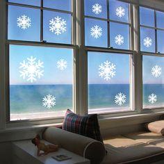 ZooYoo 14Pcs Snowflakes Vinyl Wall Stickers Christmas Snow DIY Bedroom Kids Window Decals Home Decor #Affiliate