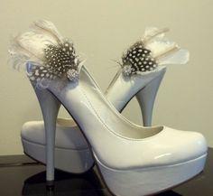 Mariage mariée Shoe Clips - plumes blanches avec des plumes naturelles de Guinée - bijou strass scintillant-lot de 2