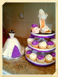Gumpaste stiletto & bridal shower dress cake https://m.facebook.com/roartasticdesserts