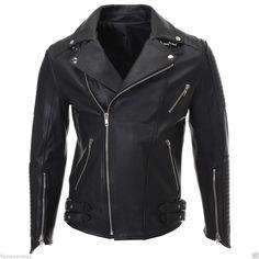 FLATSEVEN Mens Slim Fit Genuine Leather Ribbed Motorcycle Jacket (LJ702) #FLATSEVEN #Motorcycle