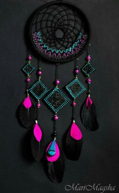 Black and bright beads