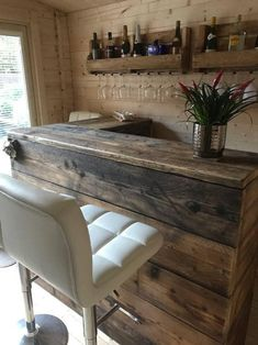 Reclaimed Industrial Chic Custom Made L Shape Corner Front Counter - Bar Cafe Restaurant Steel Solid Wood Hand Made in Sheffield 553 Home Bar Rooms, Home Bar Areas, Diy Home Bar, Corner Home Bar, Coin Bar, L Shaped Bar, Small Bars For Home, Summer House Interiors, Bar Shed