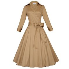 Maggie Tang 3/4 Sleeve 50s 60s Vintage Swing Rockabilly Party Dress Wind Coat: Clothing
