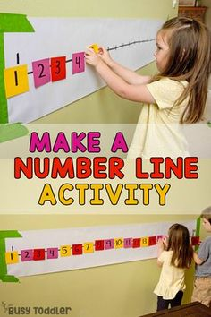 POST-IT NUMBER LINE ACTIVITY: A quick and easy preschool math activity; a number sense activity; a homeschool math activity; quick and easy indoor activity from Busy Toddler preschool Post-It Number Line Math Activity for Preschoolers Number Line Activities, Pre K Activities, Toddler Learning Activities, Math Activities For Preschoolers, Number Line Games, Activities For 4 Year Olds, Number Games For Kids, Activities To Do With Toddlers, Number Recognition Activities
