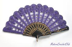 Purple crochet hand fan