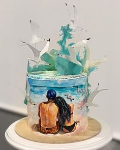 Best Ideas For Cupcakes Decoration Fondant Love Fondant Cupcakes, Fun Cupcakes, Cupcake Cakes, Ocean Cakes, Beach Cakes, Pretty Cakes, Cute Cakes, Rodjendanske Torte, Artist Cake