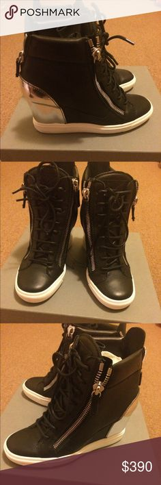 Giuseppe Zanotti Black Wedge Sneakers These bad boys will have you feeling like a million dollar bill. These sneakers are perfect for you if you are looking to grab an audience attention (dressed up or dressed down). Giuseppe Zanotti Shoes Sneakers