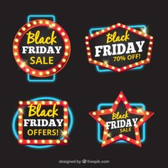 Geometric badges with lights for black friday Free Vector