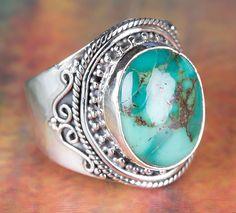 Türkis - Natur Türkis Ring, Großer Türkis Boho Ring - ein Designerstück von Midas-Jewelry bei DaWanda