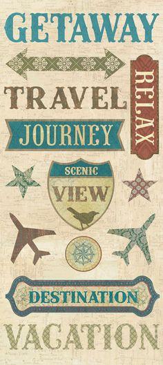scrapbook stickers travel - Google Search