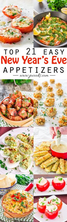 21 Top Easy New Year's Eve Appetizers (quick party snacks) New Year's Eve Appetizers, Finger Food Appetizers, Yummy Appetizers, Appetizer Recipes, Party Appetizers, Finger Foods, Christmas Appetizers, Inexpensive Appetizers, Tapas Party