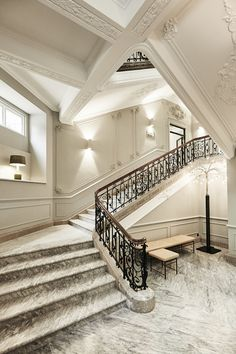 The magnificent main staircase of Nobis Hotel Copenhagen is still the exact same marble staircase as it was when The Royal Danish Academy… Marble Staircase, Building Stairs, Hotel Room Design, Modern Stairs, Grand Hotel, Modern Interior Design, Stairways, Scandinavian Design, Decoration