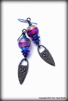 Sleek, sexy, and darkly beautiful artisan earrings, by Two Trees Studio.