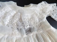 THIS GOWN IS RESERVED AND IS BEING PAID FOR USING OUR MULTIPLE PAYMENT PLAN    THANK YOU++      Exquisite Antique French Christening Gown with Underskirt    Today we are presenting another exquisite Christening gown....this one is French in the finest organdy in the palest candlelight ivory and and lavish Irish crochet-style lace. This gown is exceptional for its elegance of design using a traditional pattern found both in France and in England around the turn of the last century. But…