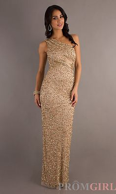 One Shoulder Sequin Embellished Dress at PromGirl.com
