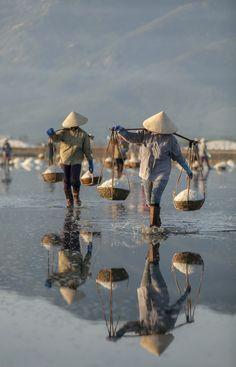 Women working on Salt Field