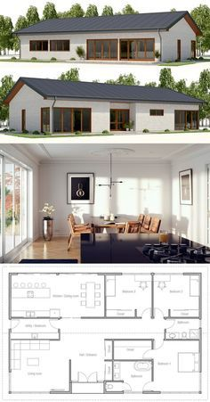 Affordable Home Plan, three bedrooms floor plan, s. Affordable Home Plan, three bedrooms floor plan, simple and affordable home design New House Plans, Dream House Plans, Modern House Plans, Small House Plans, House Floor Plans, Simple Home Plans, Simple Floor Plans, Modern Floor Plans, Three Bedroom House Plan