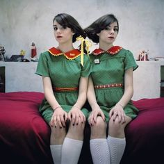 Hanna and I should totally do this! minus the ugly outfits and we would smile.