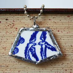 Antique Blue Willow China | Vintage Broken China Necklace Soldered Blue Willow Handmade Birthday ...