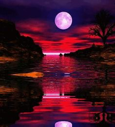 The purple tinged full moon,'s light is reflected in the water with the red tinged clouds......nature's amazingly awesome paintbrush.....