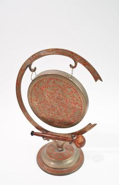 Vintage Brass Gong - Altar Gong - Indian Brass - Indian Gong - Etched Brass - Ornate Etching - Enameled on Etsy, $44.00
