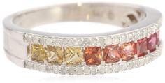 Sterling Silver Shades of Princess Orange Sapphire and Diamond Ring, Size 7 - and, Diamond, Orange, Princess, Ring, Sapphire, Shades, Silver, Size, Sterling