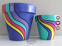 macetas pintadas a mano - set x 2 by katharine Flower Pot Art, Flower Pot Crafts, Clay Pot Crafts, Painted Plant Pots, Painted Flower Pots, Painted Pebbles, Pottery Painting, Pottery Art, Decorated Flower Pots