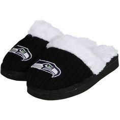 Seattle Seahawks Women's High End Open Knit Slipper - Black