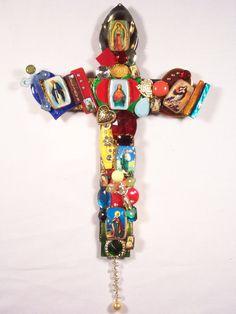 Religious. Mixed media cross by Eloise Hablizel.