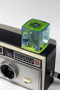 Instamatic camera with Big old flash cube.
