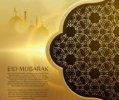 Golden eid mubarak background with floral decor vector