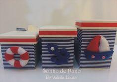 Cesto com 3 potes  Tema: ursinho marinheiro  Faço o kit completo: cesto com 3 potes, abajur, lixeira, porta-fraldas