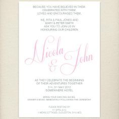 classic pale pink, blush, wedding invite, £1.60, #weddinginvitation