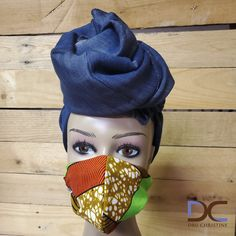 Puzzled Denim Headwrap + Printed Mask