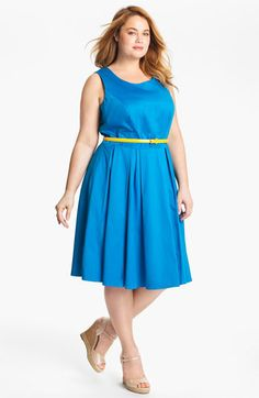 We welcome every plus-size professional woman who wants to build a closet of modern, elegant and well fitting work wear and invite you to visit www.executive-image-consulting.com for more information. Calvin Klein Belted Fit & Flare Dress (Plus) available at Nordstrom