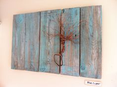 Blue cooper.  Cooper tree mounted on hemlock painted boards.