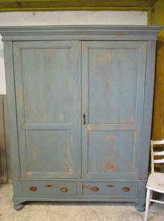 Brocante kledingkast, demontabel in Old Blue