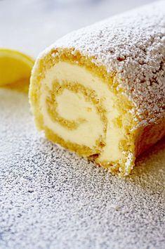 Lemon roulade with honey mascarpone buttercream