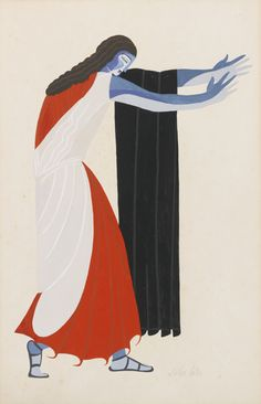 Alexandra Exter (Russian, 1882-1949), Costume design for Seven Against Thebes. Gouache over pencil on paper, 20 x 13 in.