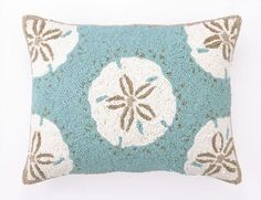 Sand Dollar Rectangle Hooked Pillow - Coastal Pillows - Seasons Gifts and Home