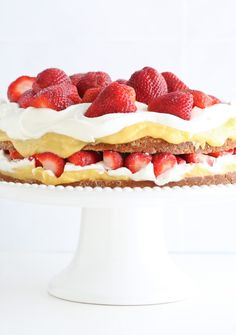 Lemon Curd, Strawberries & Cream Cake. I'm always on the lookout for recipes for special occasion cakes that are delicious AND somewhat healthy.  This beautiful cake is made with coconut flour (found in most markets), so it's grain-free, and is sweetened with honey.  A great way to take advantage of the best berries of the season.