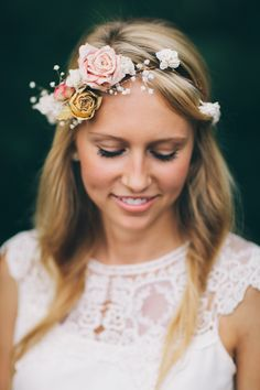 Boho-chic floral crown by emilyroseflowercrown